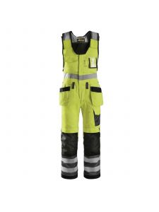Snickers 0213 Craftsmen, One-PieceTrousers with Holster Pockets High-Visibility, Class 2 - High Vis Yellow/ Muted Black