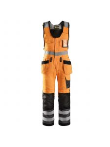 Snickers 0213 Craftsmen, One-PieceTrousers with Holster Pockets High-Visibility, Class 2 - High Vis Orange/ Muted Black