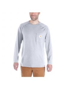Carhartt 100393 T-Shirt Cotton l/s Force - Heather Grey