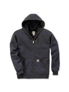 Carhartt 100632 Rutland Thermal Lined Zip Front Sweatshirt - Carbon Heather/Black