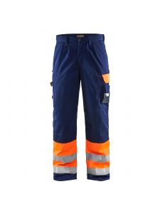 High Vis Trousers 1584 High Vis Oranje/Marine - Blåkläder