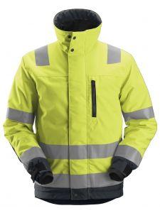 Snickers 1130 AllroundWork, High-Vis 37.5® Isolerend Jacket, Class 3 - High Vis Yellow/Steel Grey