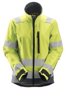 Snickers 1237 AllroundWork, Women's High-Vis Softshell Jacket, Class 2/3 - High Vis Yellow