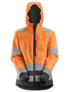 Snickers 1347 AllroundWork, Women's High-Vis Waterproof Shell Jacket, Class 2/3 - High Vis Orange