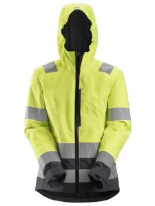 Snickers 1347 AllroundWork, Women's High-Vis Waterproof Shell Jacket, Class 2/3 - High Vis Yellow