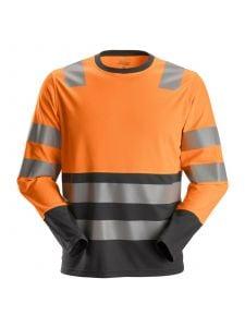 Snickers 2433 AllroundWork, High-Vis T-Shirt l/s, Class 2 - High Vis Orange/Steel Grey