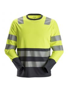 Snickers 2433 AllroundWork, High-Vis T-Shirt l/s, Class 2 - High Vis Yellow/Steel Grey