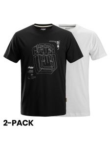 Snickers 2522 AllroundWork, T-Shirt With Artwork Print, 2-pack - Black/White