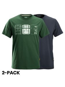Snickers 2522 AllroundWork, T-Shirt With Artwork Print, 2-pack - Forest Green/Navy