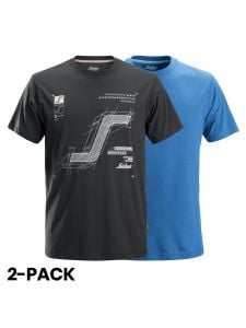 Snickers 2522 AllroundWork, T-Shirt With Artwork Print, 2-pack - Steel Grey/True Blue