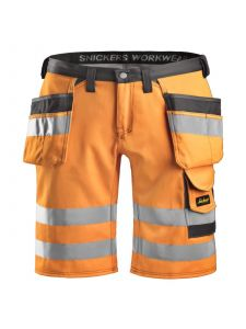 Snickers 3033 High-Vis Holster Pocket Shorts, Class 1 - High Vis Orange/Muted Black