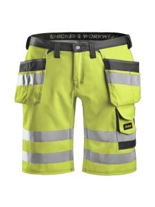Snickers 3033 High-Vis Holster Pocket Shorts, Class 1 - High Vis Yellow/Muted Black