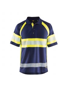 UV Polo Shirt High Vis Class 1 3338 Marine/High Vis Geel - Blåkläder