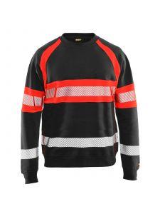 High Vis Sweater 3359 Zwart/High Vis Rood - Blåkläder