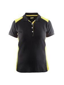 Blåkläder 3390-1050 Women's Pique Polo Shirt - Black/High Vis Yellow