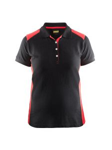 Blåkläder 3390-1050 Women's Pique Polo Shirt - Black/Red
