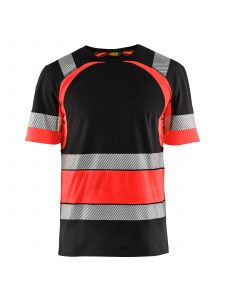 High Vis T-shirt 3421 Zwart/High Vis Rood - Blåkläder