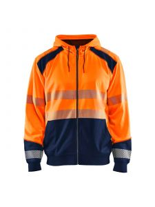 High Vis Hooded Sweater 3546 High Vis Oranje/Marineblauw - Blåkläder