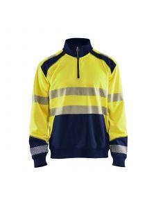 High Vis Sweatshirt With Half Zip 3556 High Vis Geel/Marine - Blåkläder