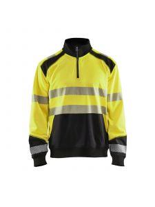 High Vis Sweatshirt With Half Zip 3556 High Vis Geel/Zwart - Blåkläder