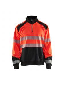 High Vis Sweatshirt With Half Zip 3556 High Vis Rood/Zwart - Blåkläder