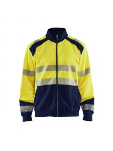 High Vis Sweatshirt With Full Zip 3558 High Vis Geel/Marine - Blåkläder