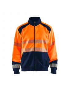 High Vis Sweatshirt With Full Zip 3558 High Vis Oranje/Marine - Blåkläder