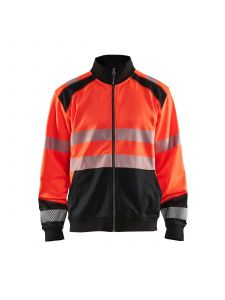 High Vis Sweatshirt With Full Zip 3558 High Vis Rood/Zwart - Blåkläder