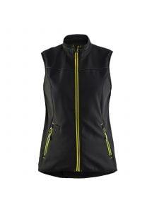 Ladies Softshell Gilet 3851 Zwart/High Vis Geel - Blåkläder