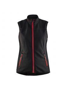 Ladies Softshell Gilet 3851 Zwart/Rood - Blåkläder