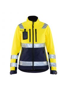 Ladies High Vis Softshell Jacket 4902 High Vis Geel/Marineblauw - Blåkläder