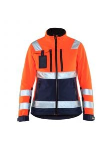Ladies High Vis Softshell Jacket 4902 High Vis Oranje/Marineblauw - Blåkläder