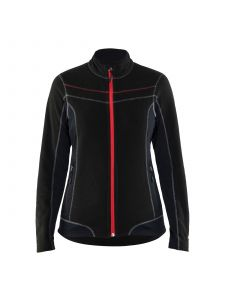 Ladies Micro Fleece Jacket 4924 Zwart/Rood - Blåkläder