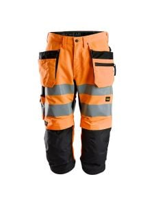 Snickers 6134 LiteWork High-Vis Pirate Work Trousers with Holster Pockets Class 2 - High Vis Orange