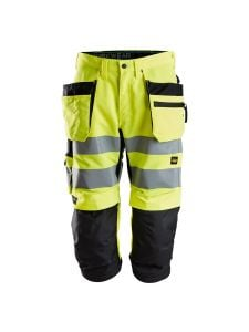 Snickers 6134 LiteWork High-Vis Pirate Work Trousers with Holster Pockets Class 2 - High Vis Yellow