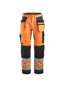 Snickers 6230 AllroundWork, High-Vis Work Trousers+ Holster Pockets, Class 2 - Orange/Steel Grey