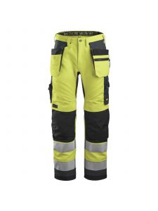 Snickers 6230 AllroundWork, High-Vis Work Trousers+ Holster Pockets, Class 2 - Yellow/Steel Grey