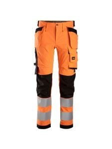 Snickers 6243 High-Vis Stretch Trousers Holster Pockets Class 2 - Orange/Black
