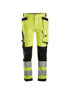 Snickers 6243 High-Vis Stretch Trousers Holster Pockets Class 2 - Yellow/Black