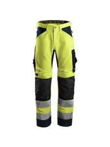 Snickers 6331 AllroundWork, High-Vis Work Trousers+, Class 2 - Yellow/Navy