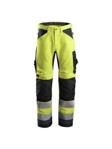 Snickers 6331 AllroundWork, High-Vis Work Trousers+, Class 2 - Yellow/Steel Grey