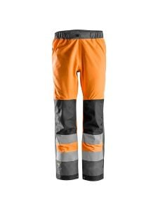 Snickers 6530 AllroundWork, High-Vis Waterproof Shell Trousers Class 2 - Orange/Steel Grey