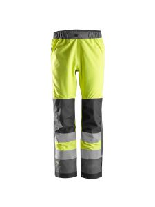 Snickers 6530 AllroundWork, High-Vis Waterproof Shell Trousers Class 2 - Yellow/Steel Grey