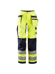 Snickers 6730 AllroundWork, Women's High-Vis Work Trousers+ Holster Pockets, Class 2 - Yellow/Navy