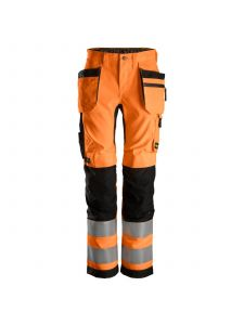 Snickers 6730 AllroundWork, Women's High-Vis Work Trousers+ Holster Pockets, Class 2 - Orange/Black