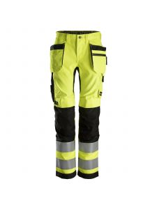 Snickers 6730 AllroundWork, Women's High-Vis Work Trousers+ Holster Pockets, Class 2 - Yellow/Black