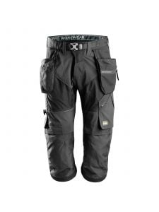 Snickers 6905 FlexiWork, Work Pirate Trousers+ with Holster Pockets - Black