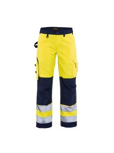 Ladies High Vis Trousers Without Holster Pockets 7155 High Vis Geel/Marineblauw - Blåkläder