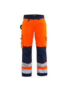 Ladies High Vis Trousers Without Holster Pockets 7155 High Vis Oranje/Marineblauw - Blåkläder