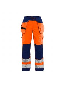 Ladies High Vis Trousers 7156 High Vis Oranje/Marineblauw - Blåkläder